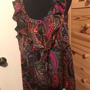 LANE BRYANT ruffled paisley blouse